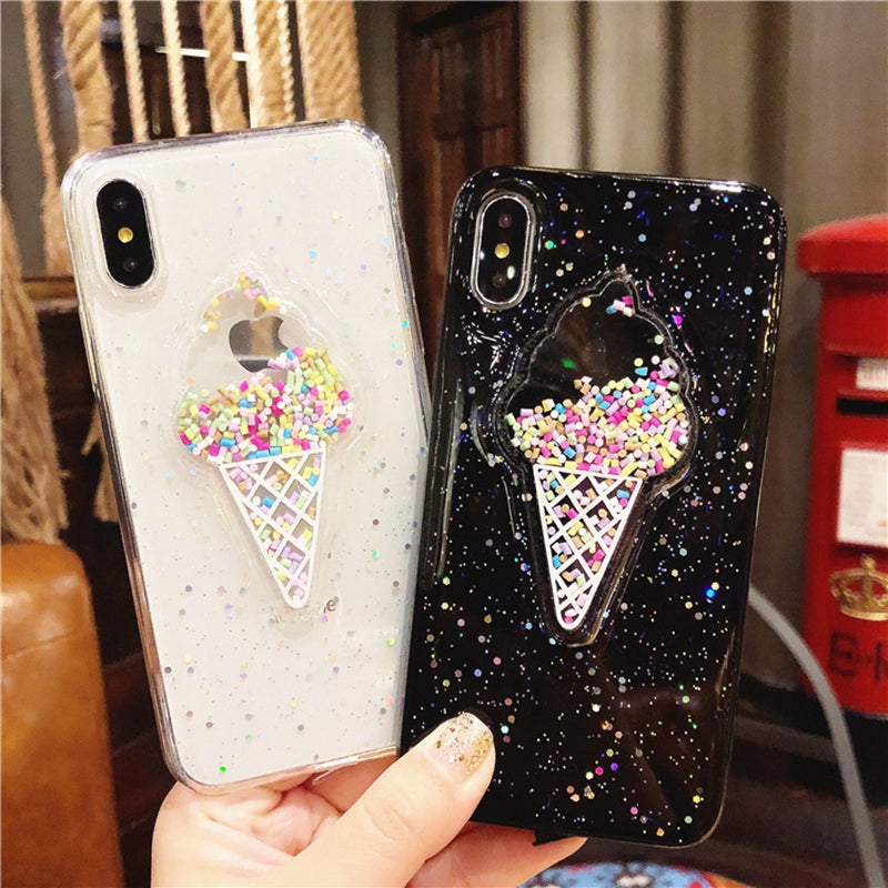 innovative design 76d0b 5f9da 3D Lovely Ice Cream Case For iphone X iphone10 Case Bling Glitter Kawaii  Cute Cover Coque For Apple iphone X 10 Cases Luxury