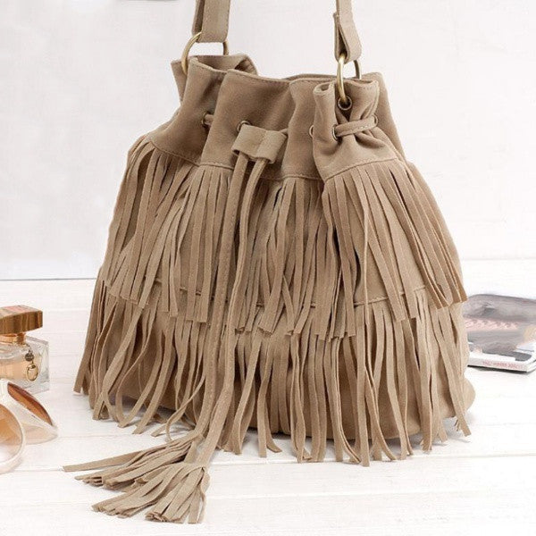 Tassel Faux Suede Leather bucket bag