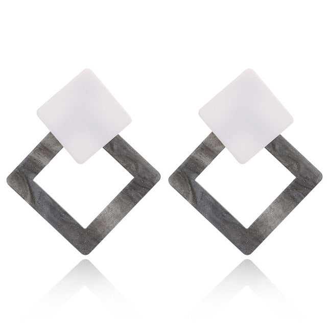 Geometric Big Hollow Drop Earrings