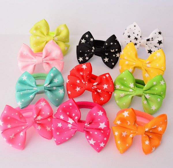 5 Pairs (10 Pcs) Sweet Solid Print Bow Elastic Hair ties