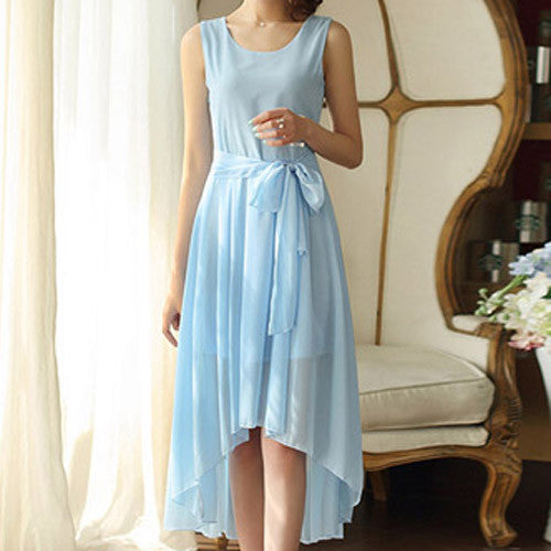 Asymmetric Sleeveless long Dress - awashdress