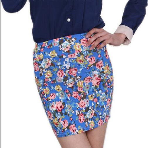 flower Printing Short hip Skirt - awashdress