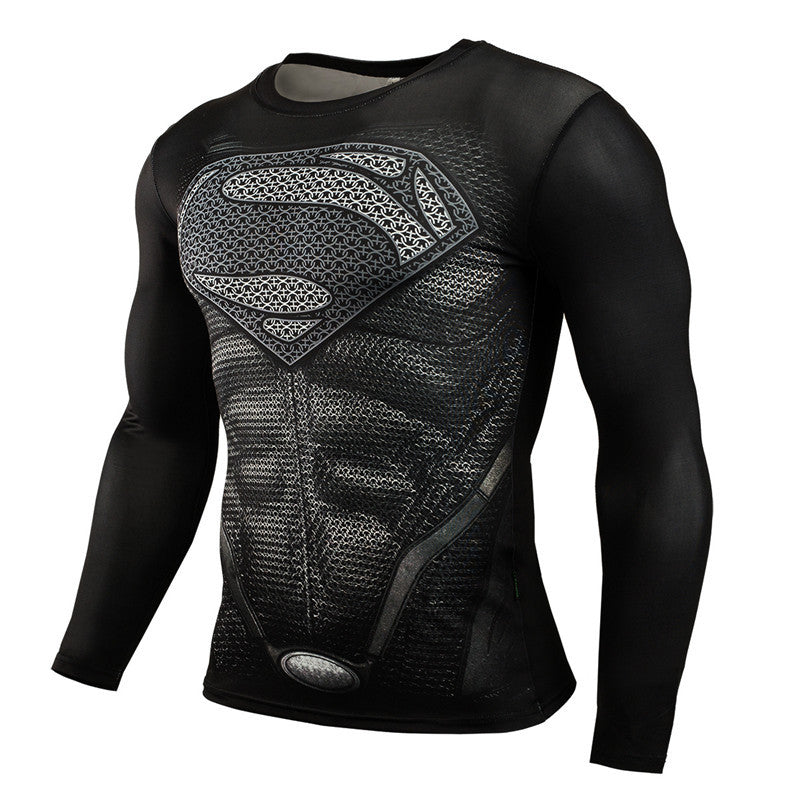 Fitness Compression Superman Bodybuilding Long Sleeve 3D T Shirt - awashdress