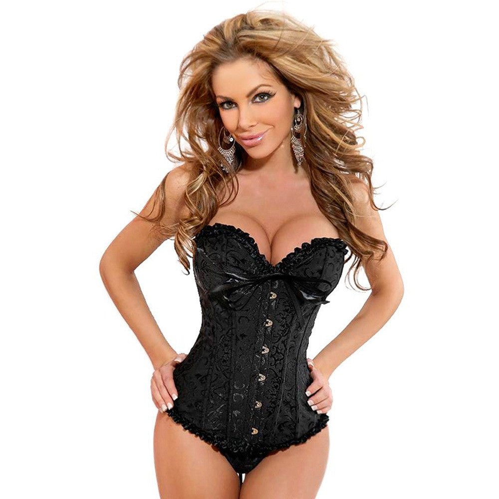 Brocade Floral Lace Up Back Lingerie Bodyshaper