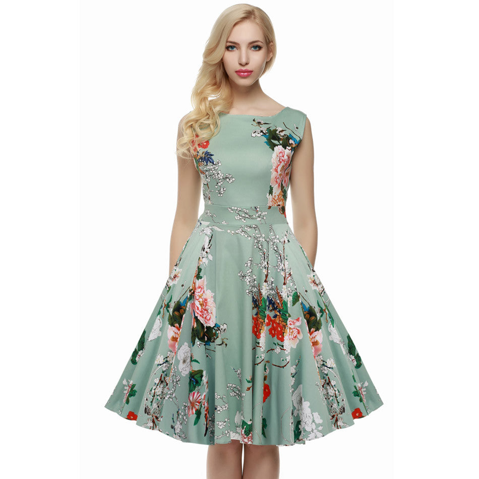 Floral Swing Bow-knot Dress - awashdress