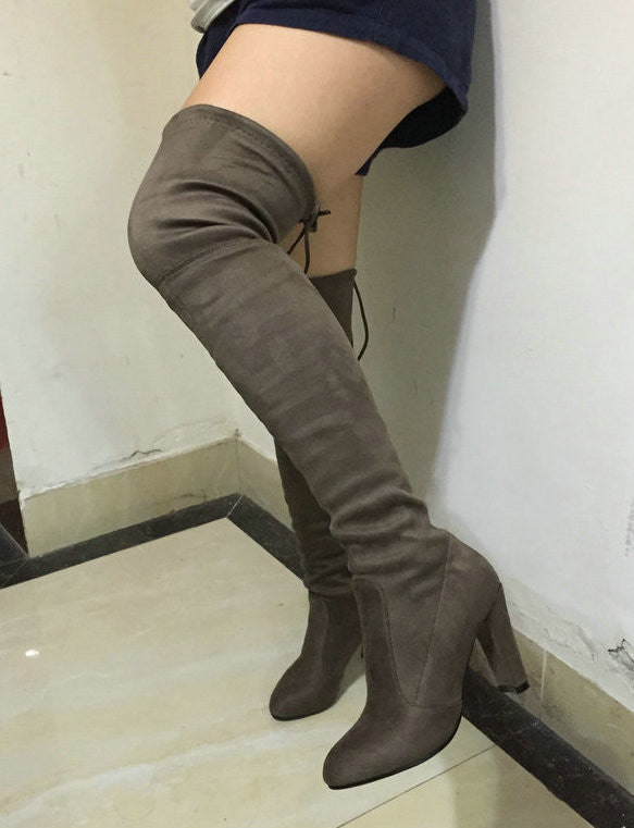 Stretch Faux Suede Slim Thigh High Boots