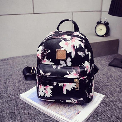 Floral Printing Backpacks PU Leather - awashdress