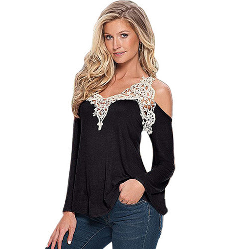 V-neck with lace stitching top