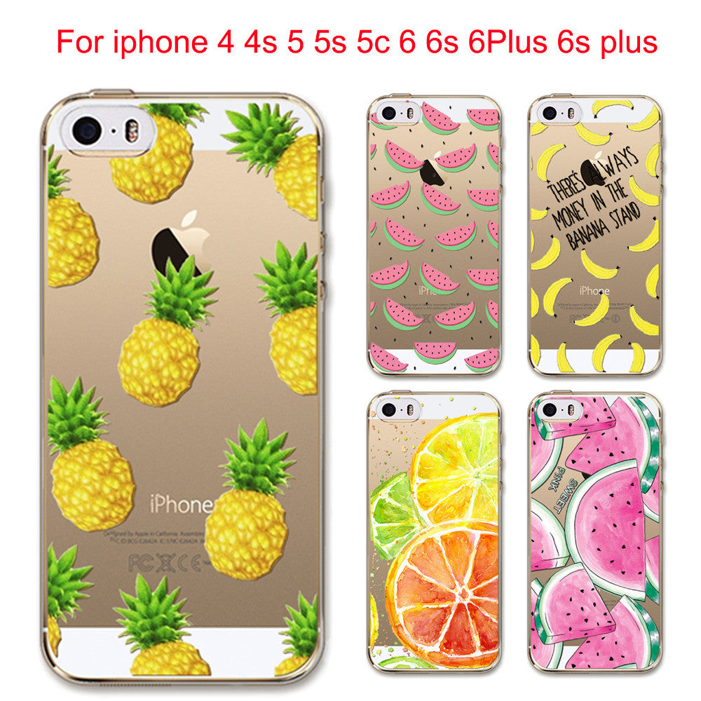 Fruit Soft Silicon Transparent Case Cover For Apple Iphone 6 6s 5 5s Tempered Glass 4g 4s 5c Plus Se 6plus
