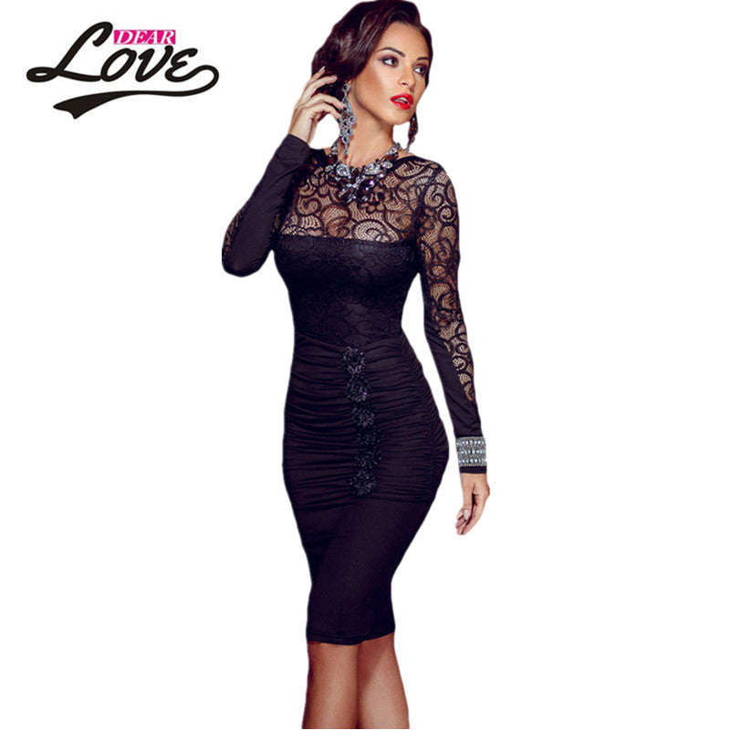 Floral Applique Lace Bodycon Midi Dress - awashdress