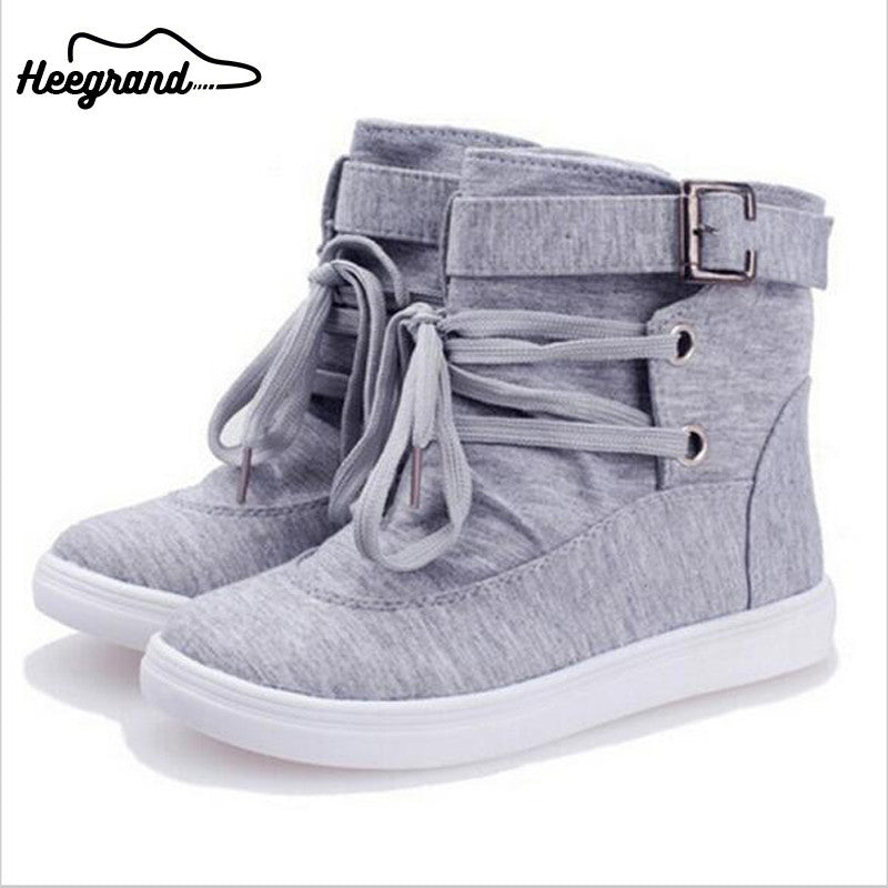 Ankle Buckle Lace Canvas  Boots - awashdress