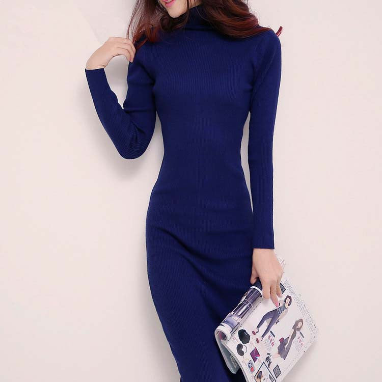 Turtleneck long knitted dress bodycon dress