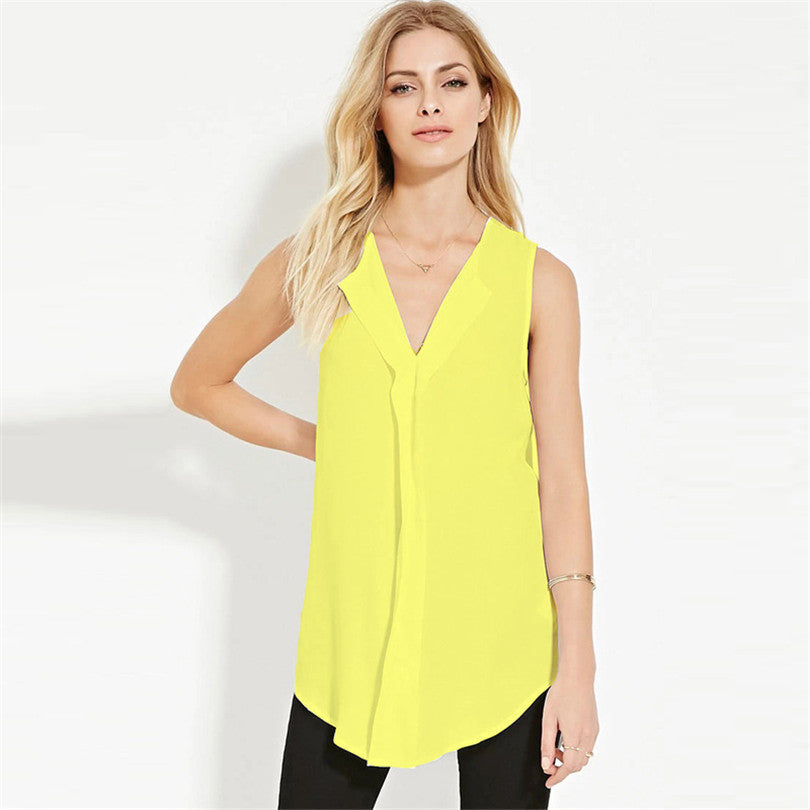 V Neck Chiffon Long Shirt