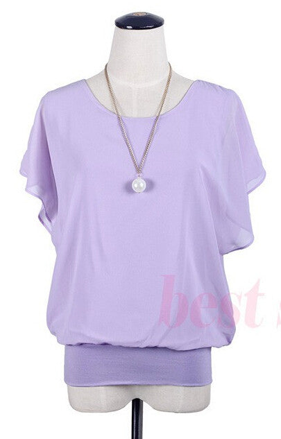 Ruffle Batwing Short Sleeve Shirt