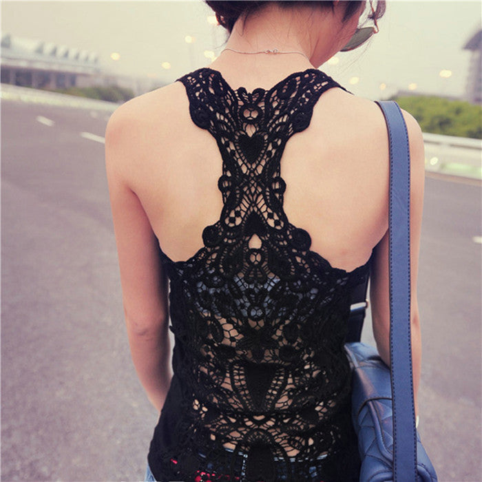 Lace Crochet Back Hollow-out  Camisole - awashdress