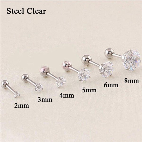 Stainless Steel Ear Stud Crystal Zircon Earrings Piercing