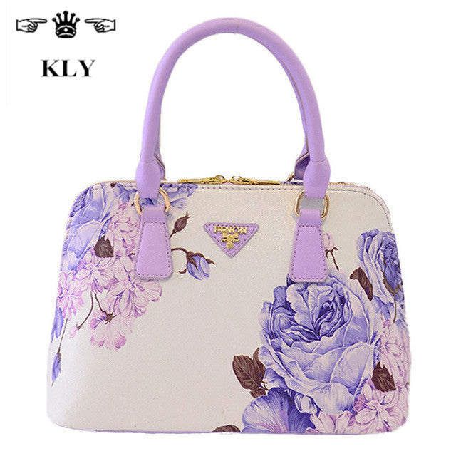 Luxury leather tote print bag