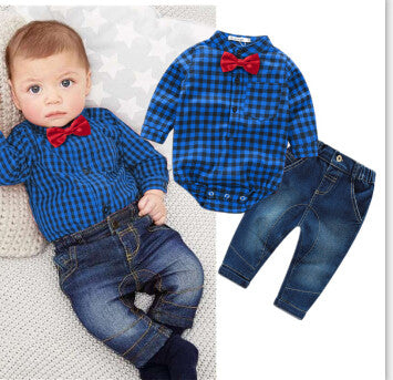 plaid rompers shirts+jeans baby boys