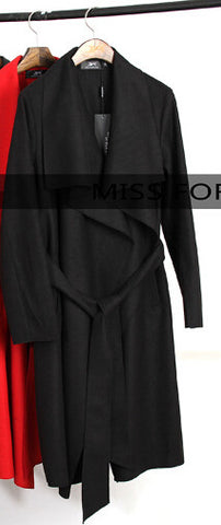 high fashion trend street women's wool Trench Coat - awashdress