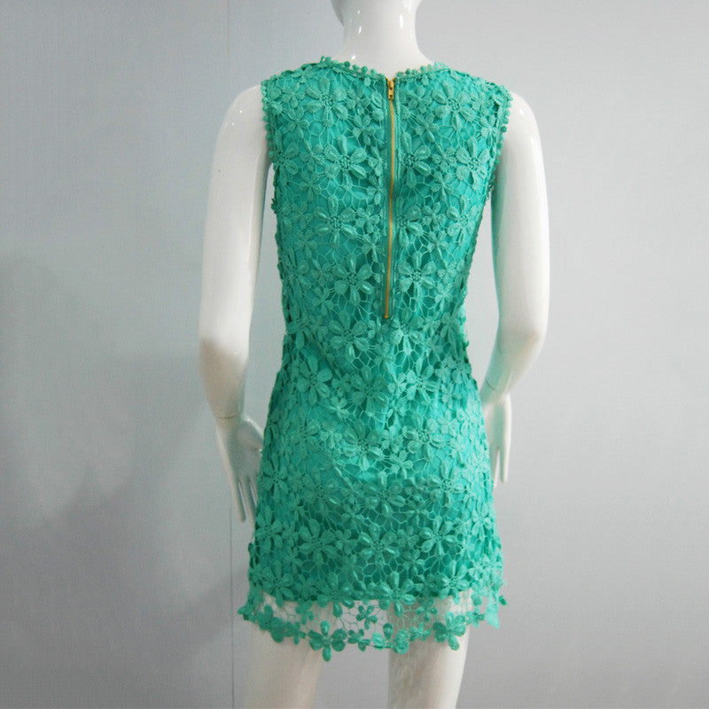 floral lace Crochet women dress - awashdress