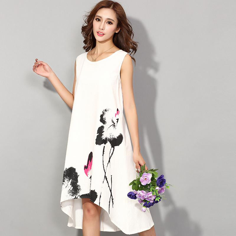 Flower Print Casual Dress - awashdress