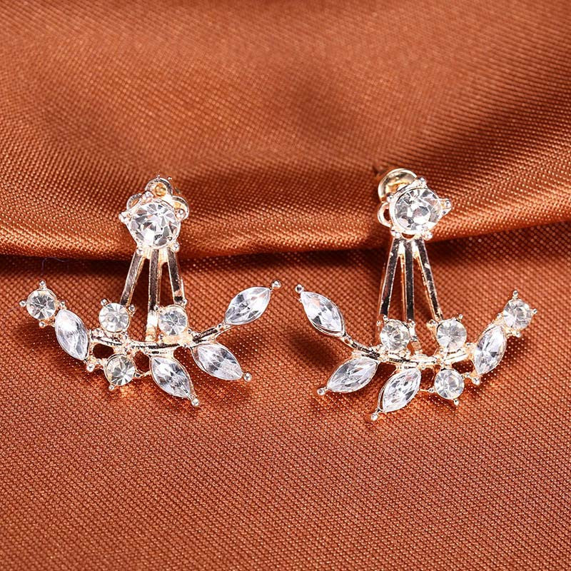 leaves asymmetric crystal earrings - awashdress
