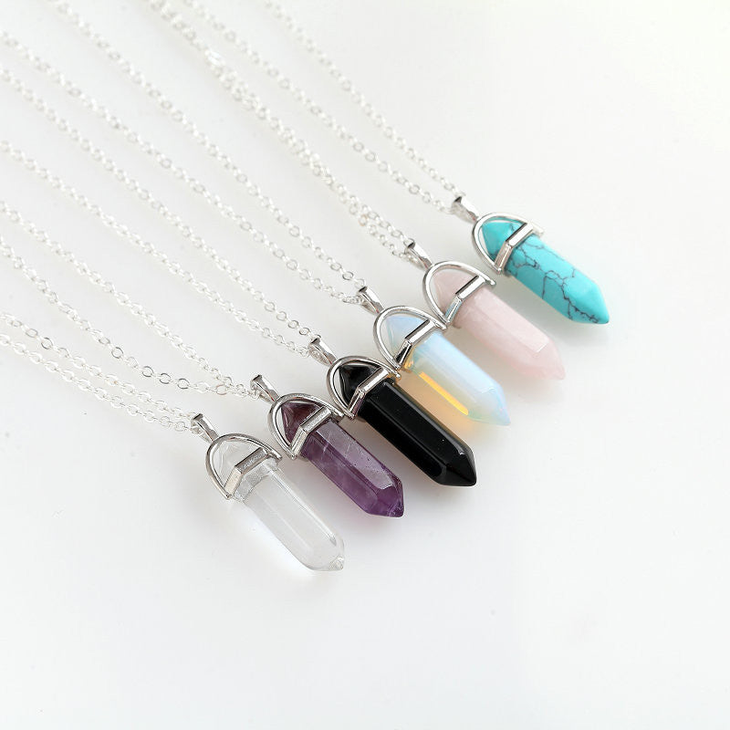 Hexagonal Column Necklace Natural Crystal turquoise Agate Amethyst Stone Pendant Chains Necklace