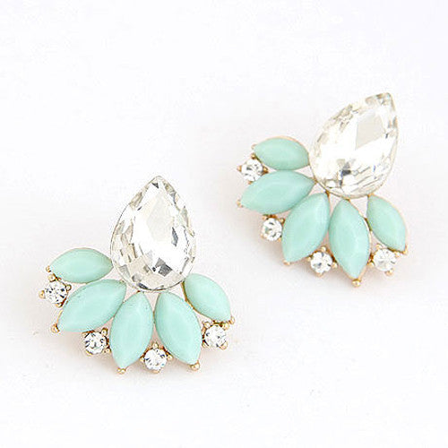 Exquisite  Flower Crystal Gem Cubic Zircon Stud Earrings - awashdress