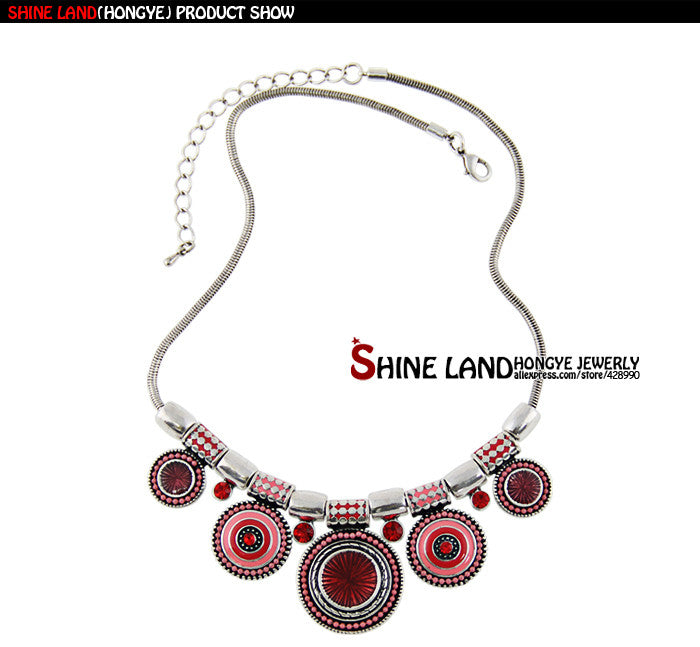 Ethnic Vintage Silver Plated Colorful Statement Necklace - awashdress