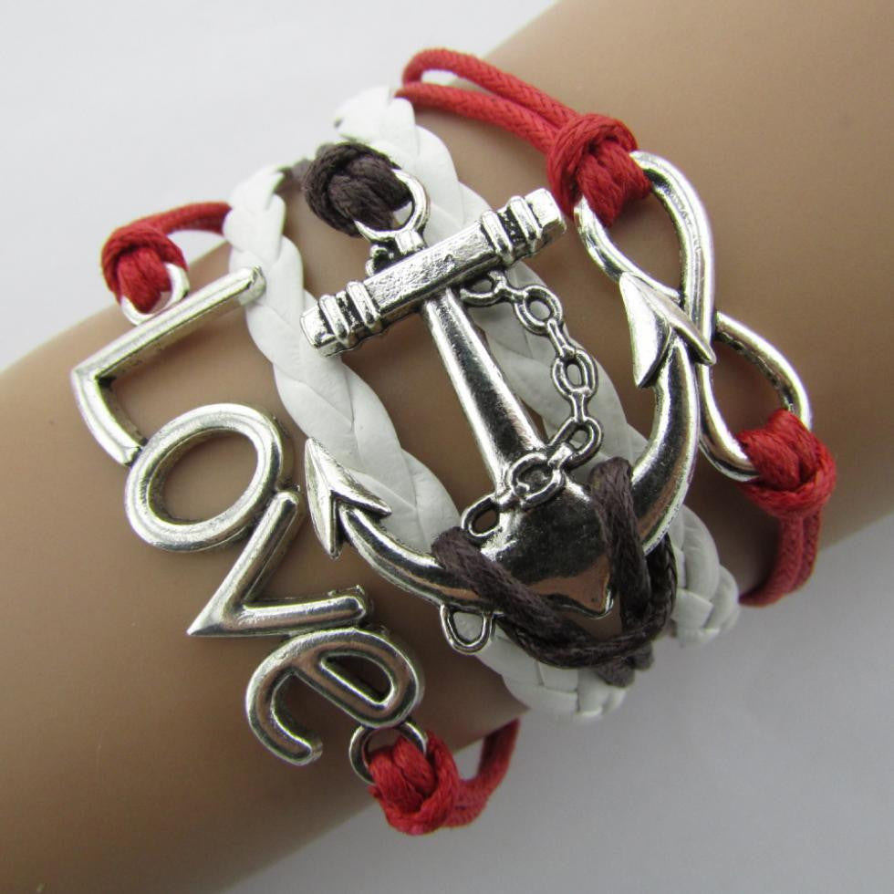 Charm Vintage Anchor  Multilayer Braided Bracelets - awashdress