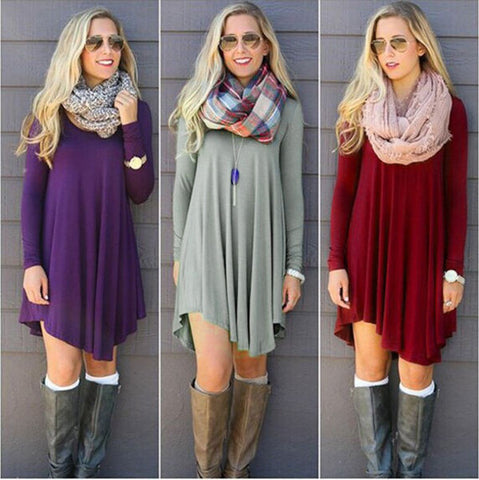Cotton O-neck Long Sleeve Dresses