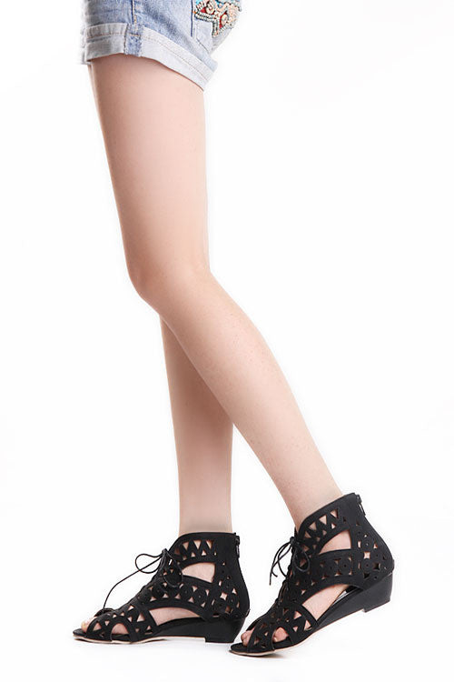 Cut-outs Lace Open Toe Low Wedges - awashdress