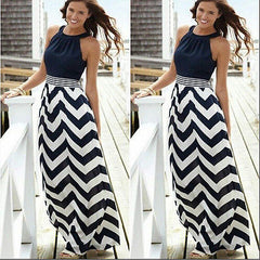 Striped Long Maxi  sleeveless Beach Dress