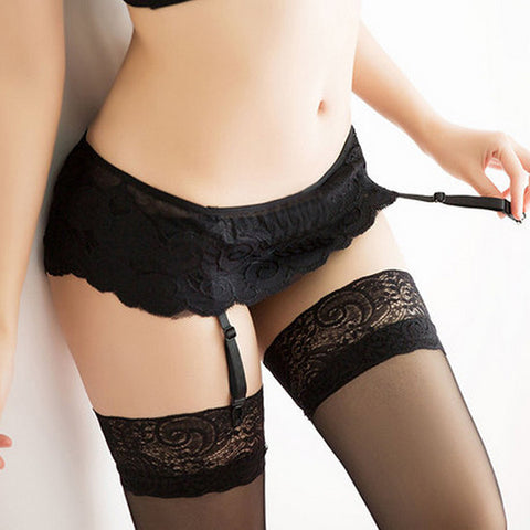 Dual Layer Garter Belts Thongs Lace Stocking Suspender - awashdress