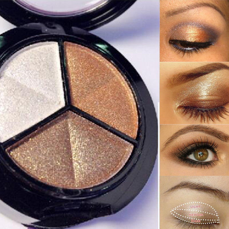 3 Colors Paleta De Sombra Glitter Eye Shadow - awashdress