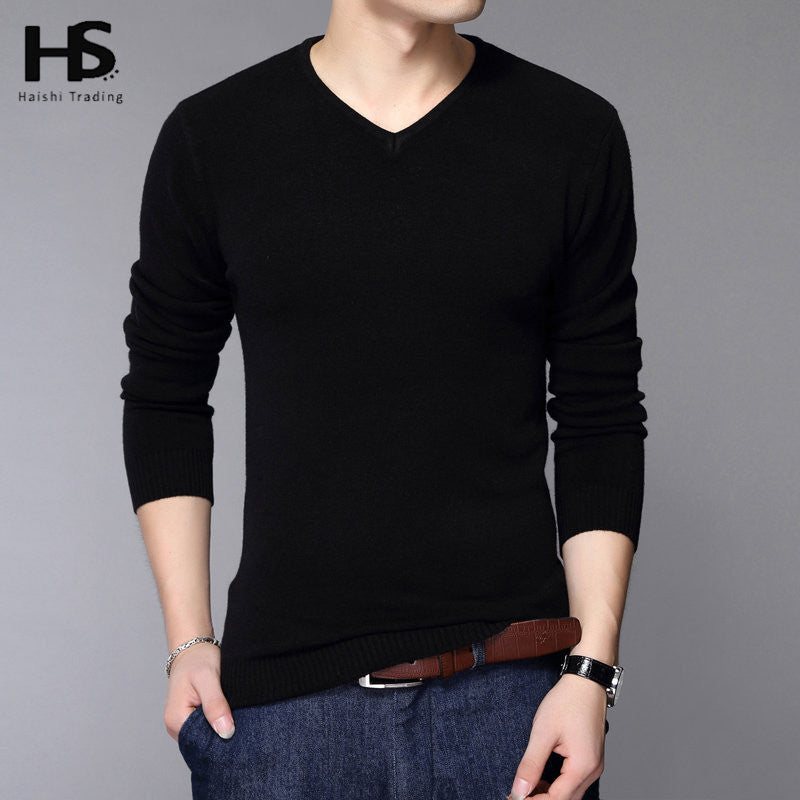 Men Classic Pure Black Pullover