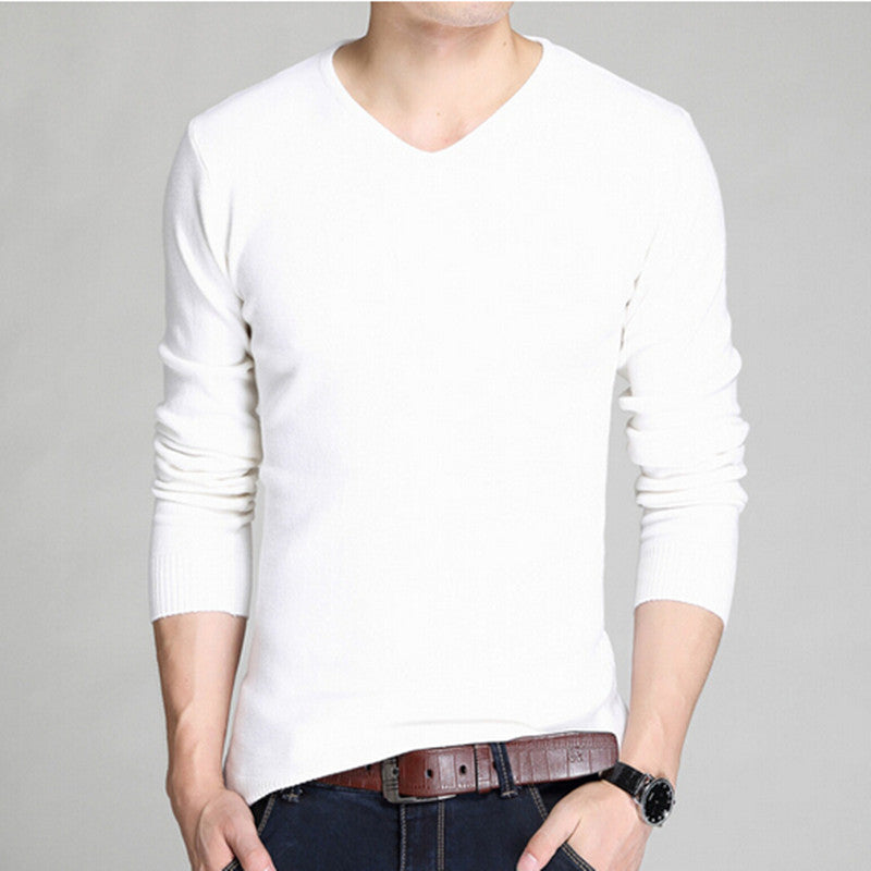 v-neck quality fashion pure color knit shirt