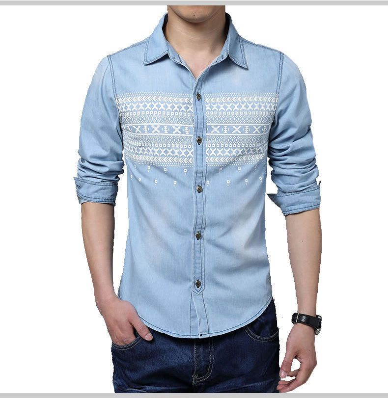 casual Long Sleeve Denim Shirts - awashdress
