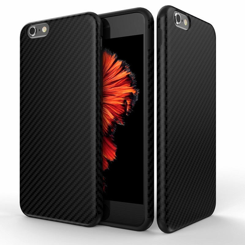 Carbon Fiber Case For iPhone 6 6S Plus Soft Anti-Skid Anti-Knock Cover For iPhone 7 / Plus Leather Skin Bag