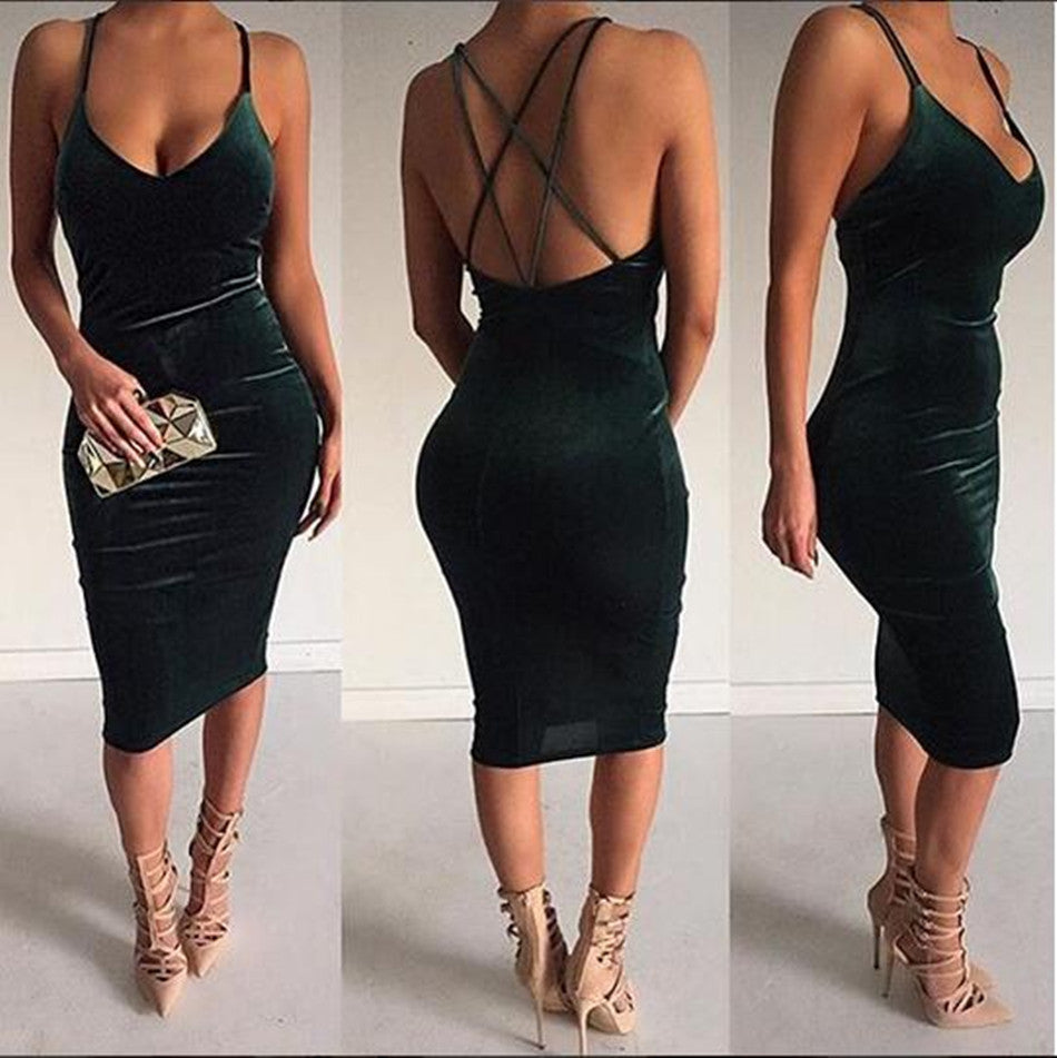 Velvet Cross Strap Bodycon Party Dress