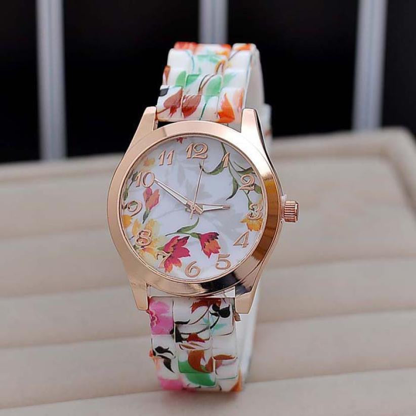 Flower Printed Silicone band clock - awashdress
