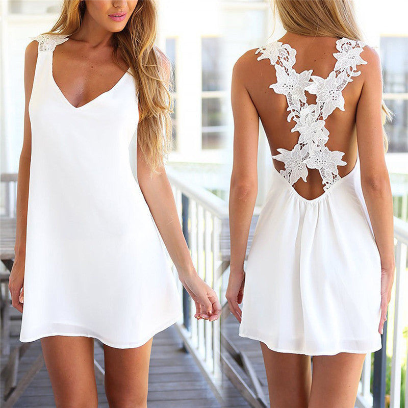 Women V Neck Backless Lace Crochet Chiffon Dress