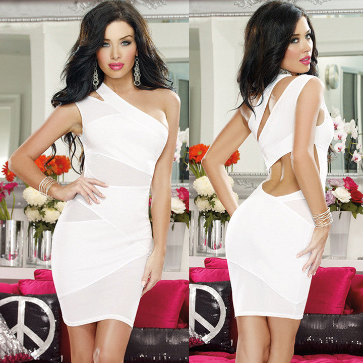 Bandage One Shoulder Dress - awashdress