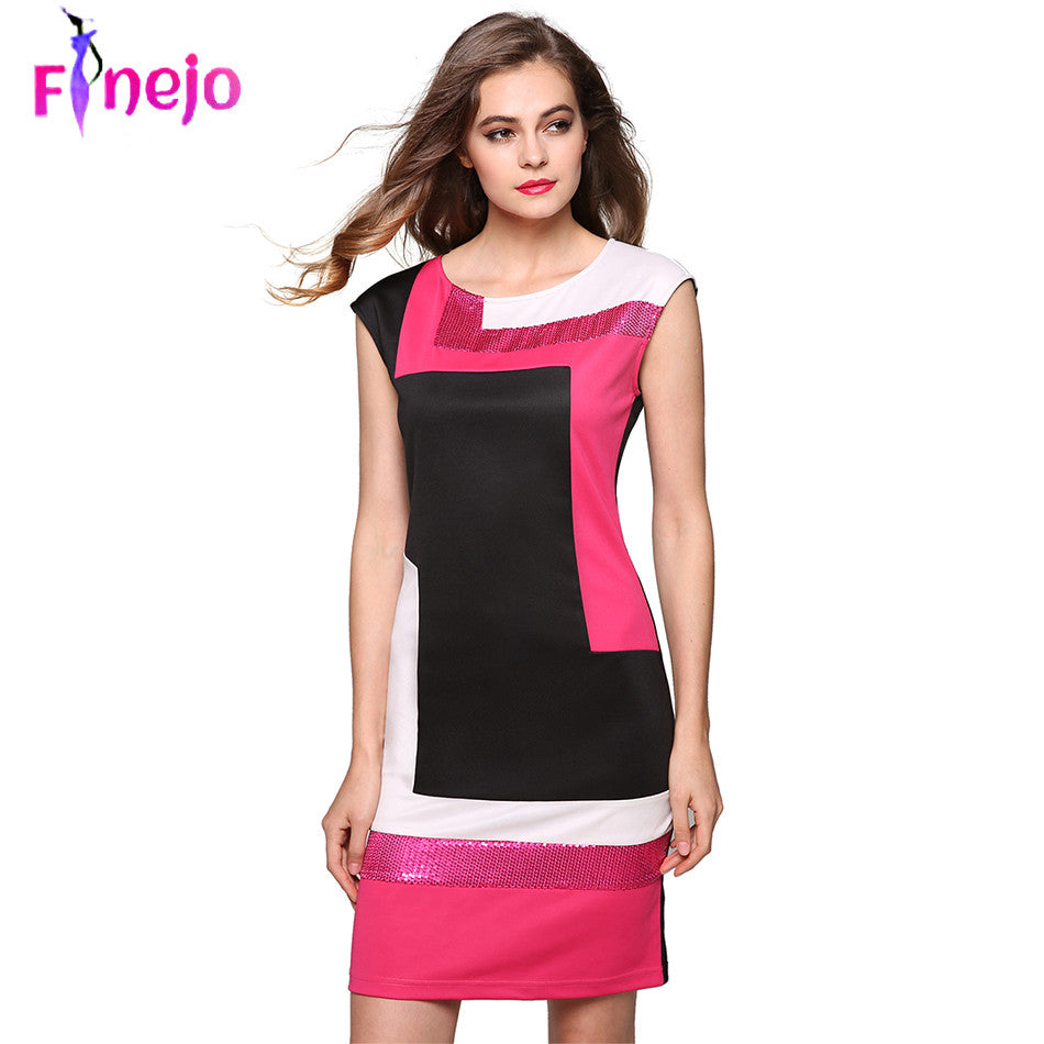 Geometrical Patchwork Bodycon Dress - awashdress