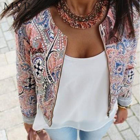 Bomber Print Zipper Jacket - awashdress