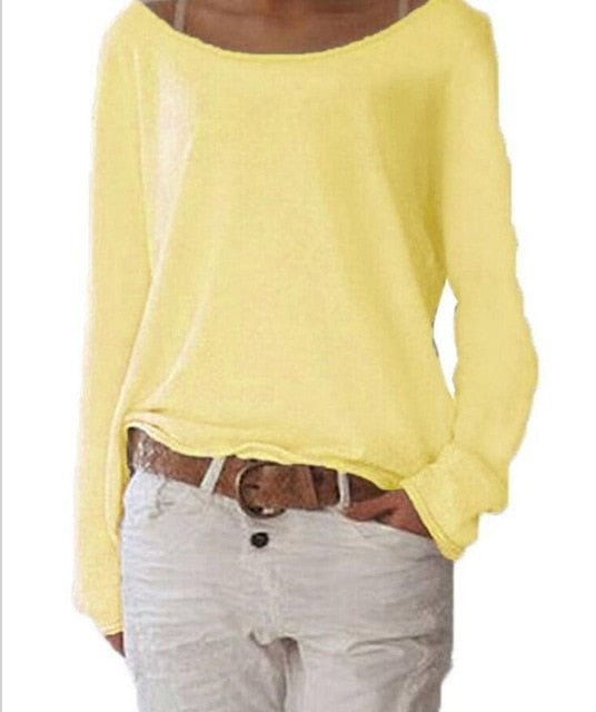 Knitted Blouse Female Casual O Neck Long Sleeve