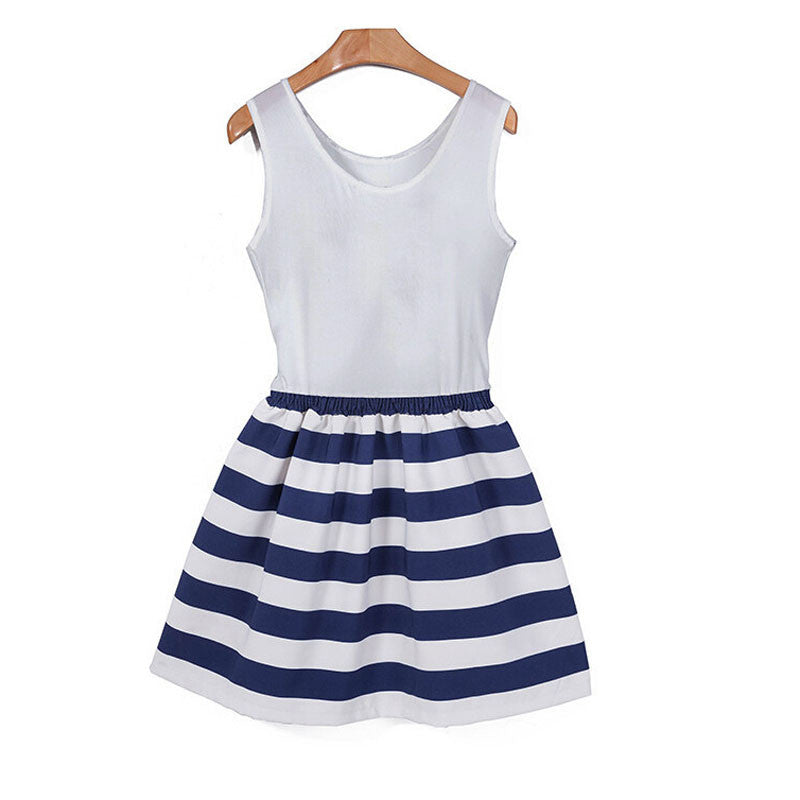 Striped Patchwork Sleeveless Dress