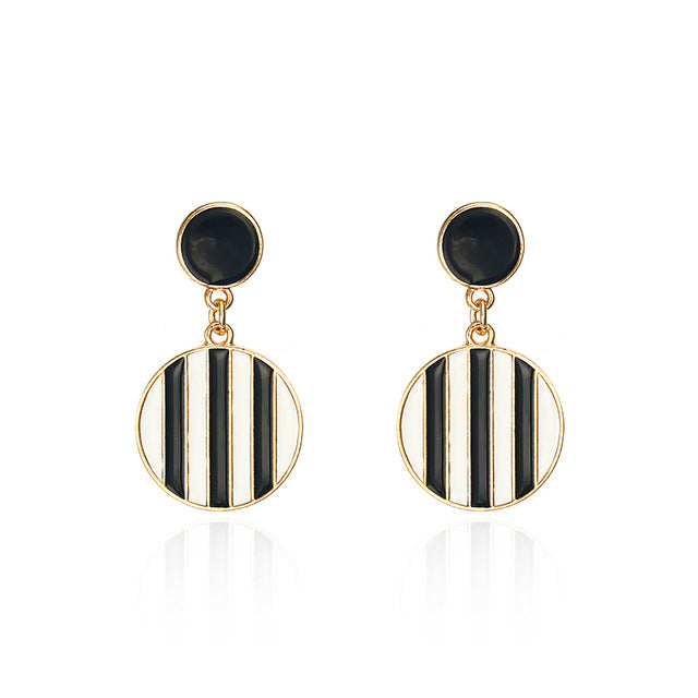 Black white Stripes Earring Round Statement