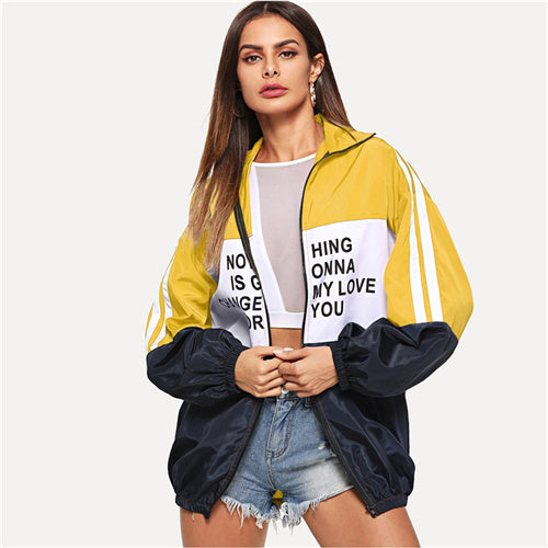 Zip Up Color Long Sleeve Active Wear Jacket