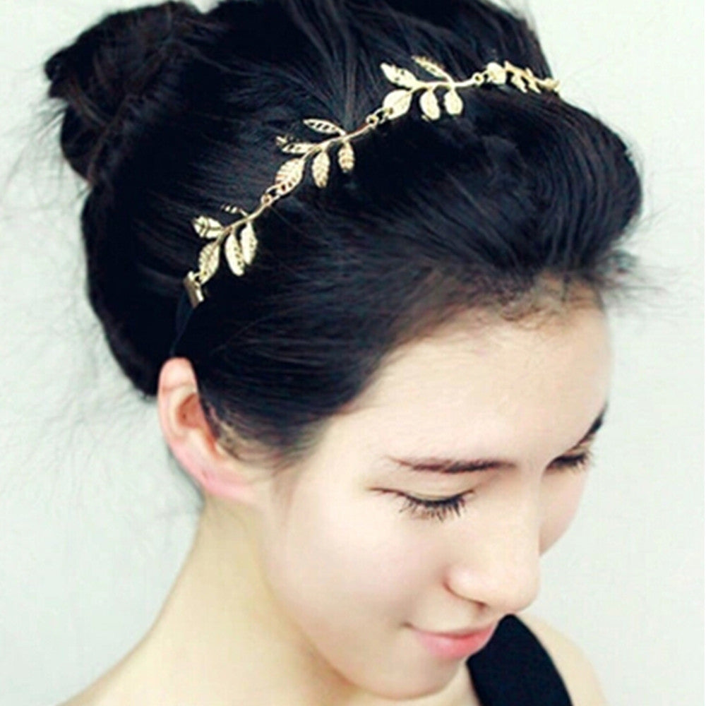 Metal Gold Chain Flower Leaf Hairband